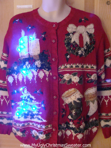 80s Christmas Sweater with Candles, Tree, Lights (g294)
