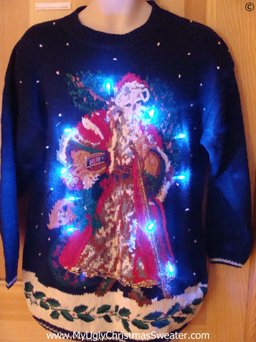 Horrid Huge Santa Christmas Sweater with Lights (g295)