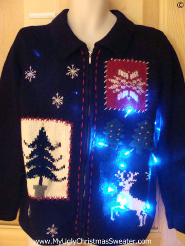 Reindeer Christmas Sweater with Lights (g297)