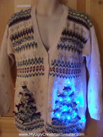 Twin Trees Christmas Sweater with Lights (g298)