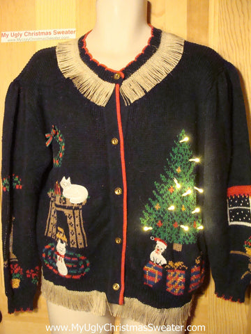 Tacky Ugly Christmas Sweater with Lights and Fringe. Cats & Tree  (g29)