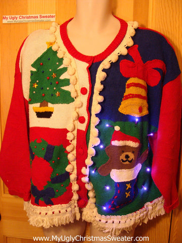 Tacky Ugly Christmas Sweater with Lights and Fringe. 80's retro style. (g2)
