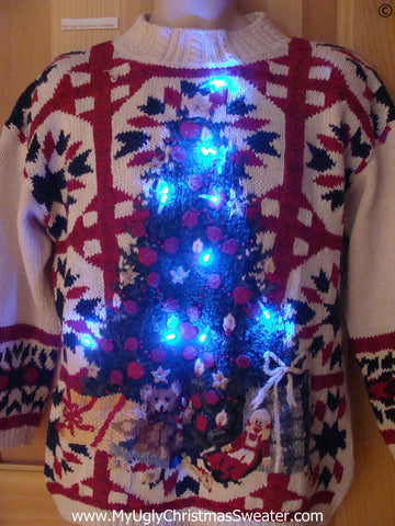 80s Vintage Funny Light Up Christmas Sweater