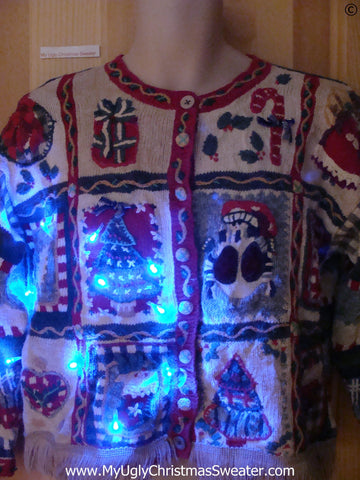 80s Vintage 2sided Funny Light Up Christmas Sweater