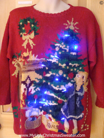 Vintage Funny Christmas Sweater with Lights 80s Huge Tree