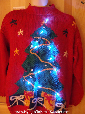 Vintage Red 80s Tacky Christmas Sweater with Tree and Lights