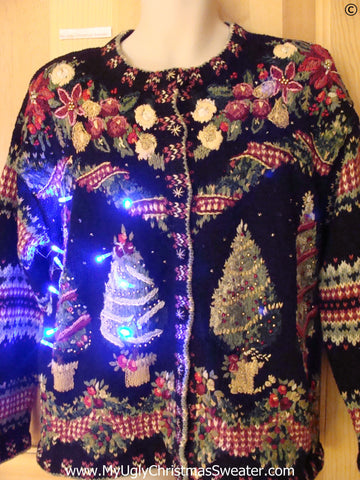 Vintage 80s Funny Christmas Sweater with Lights Horrible Trees