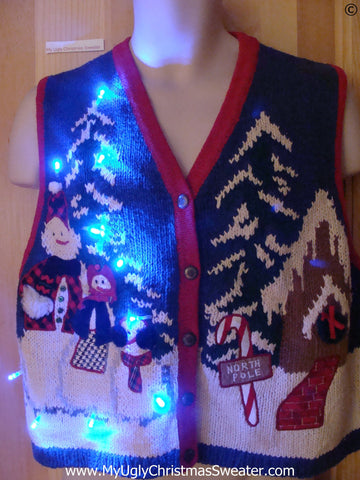 Reindeer North Pole Tacky Christmas Sweater Vest with Lights