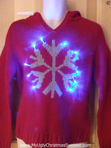 Red Christmas Sweater Hoodie w- Snowflake and Lights