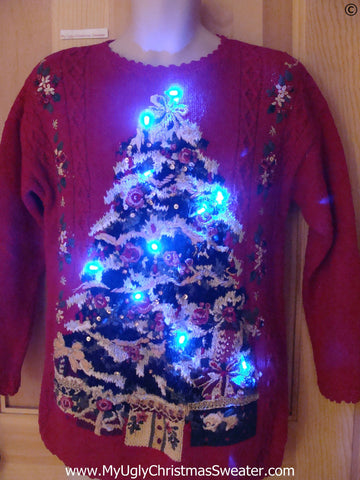 Funny Christmas Sweater with Lights Vintage 80s Huge Tree