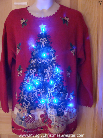 Red 80s Style Funny Christmas Sweater with Lights Tree
