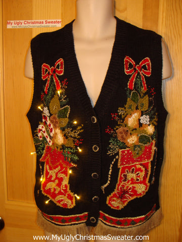 Tacky Ugly Christmas Sweater Vest with Lights and Fringe (g30)