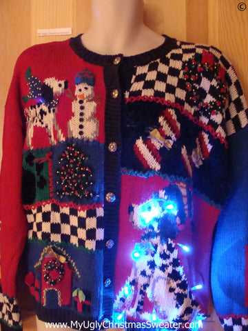 Dog Dalmation 80s Funny Light Up Christmas Sweater