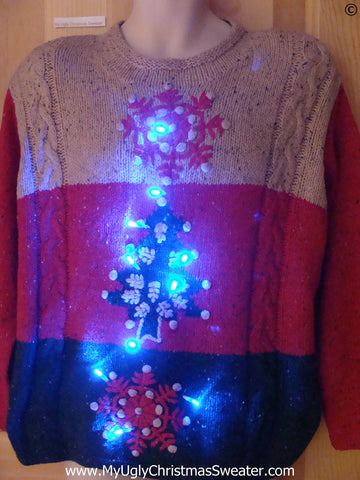 Funny Christmas Sweater with Lights Snowflakes