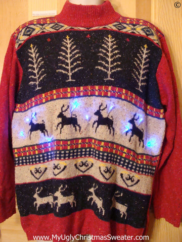 Reindeer Funny Christmas Sweater with Lights Vintage Pattern