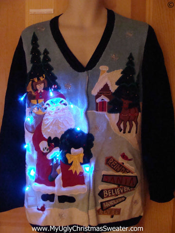 Cheesy Two Sided Funny Light Up Christmas Sweater