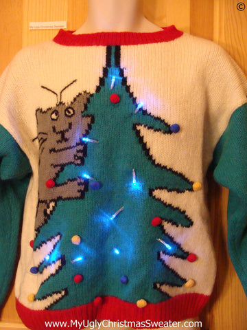 Holy Grail of Ugly Funny Christmas Sweater with Lights 80s Cat