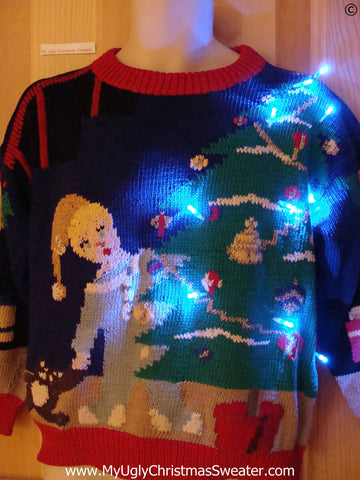 Holy Grail of Ugly Christmas Sweater with Lights Tree Santa