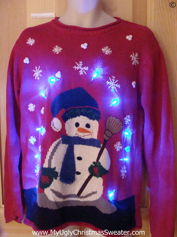 Corny Snowman Funny Light Up Christmas Sweater