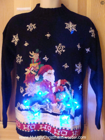 Harley Motorcycle Funny Christmas Sweater with Lights 80s