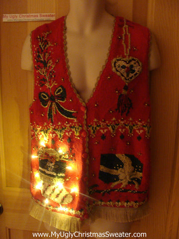 Tacky Ugly Christmas Sweater Vest with Lights and Fringe (g31)