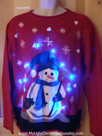 Corny Snowman Red Funny Light Up Christmas Sweater