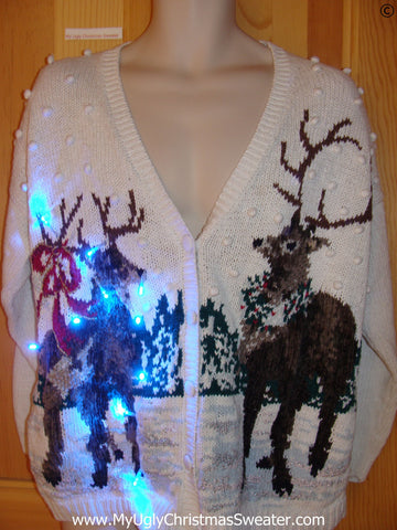 Reindeer Funny Christmas Sweater with Lights Vintage 80s