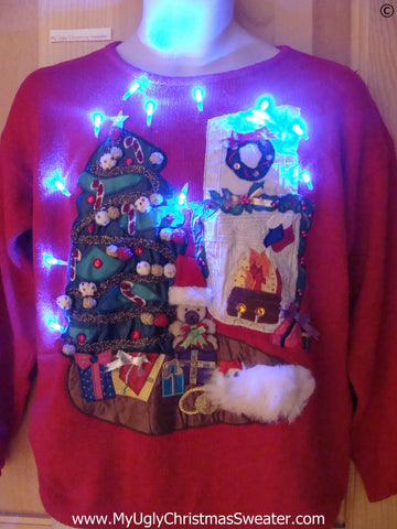 Red Funny Christmas Sweater with Lights 3D Fluffy