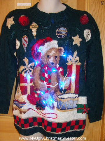 Vintage 80s Bear Funny Light Up Christmas Sweater