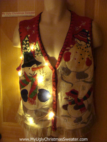 Tacky Ugly Christmas Sweater Vest with Skating Snowmen with Lights and Fringe (g32)