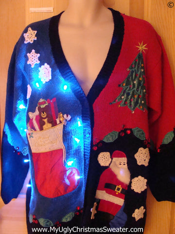 Colorful Christmas Sweater cardigan with Lights