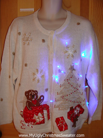 Christmas Sweater with Teddy Bear and Lights