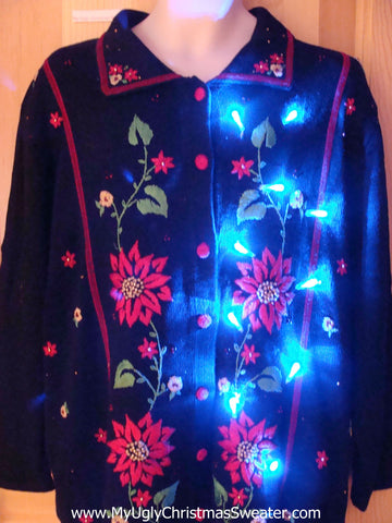 Christmas Sweater with Red Poinsettias and Lights