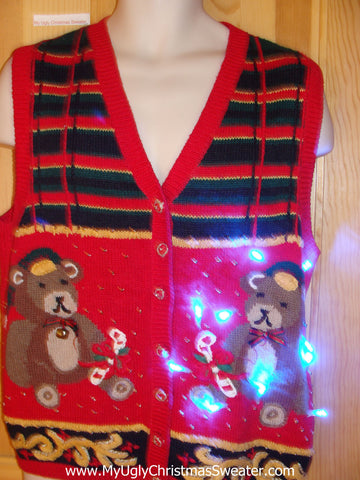 Tacky Christmas Sweater Vest Teddy Bear with Lights