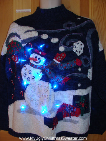 80s Tacky Christmas Sweater Snowman with Lights