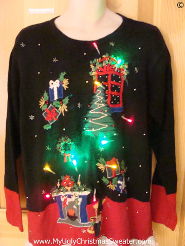 Funny Christmas Sweater with Lights Floating Decorations
