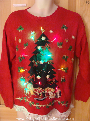 Red Christmas Sweater with Tree, Ivy and Lights