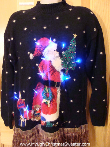 Christmas Sweater 80s Huge Santa with Lights