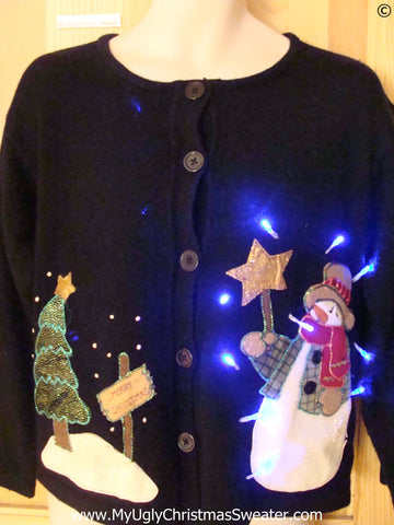 Christmas Sweater Snowman Star Tree with Lights