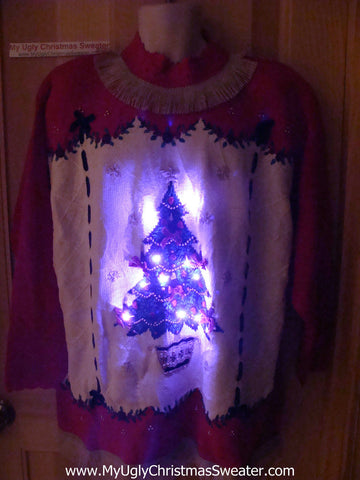Tacky Ugly Christmas Sweater with Lights and Fringe. 80s Style with Padded Shoulders and Giant Tree. (g33)