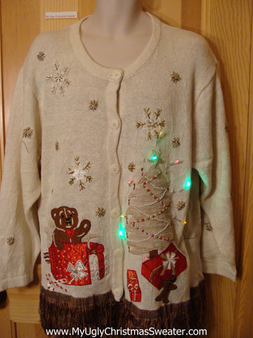 Christmas Sweater Long Fringe and Lights
