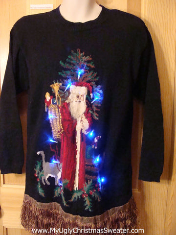 Christmas Sweater 80s with Santa, Cat, and Lights