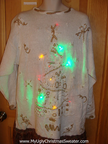 80s Tacky Christmas Sweater with Tree, Fringe, with Lights