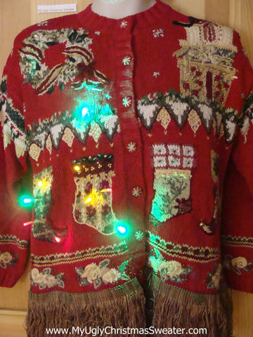 Tacky Christmas Sweater 80s 2sided  with Lights