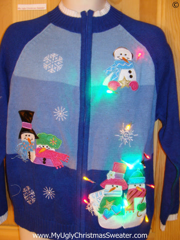 Christmas Sweater Pastel Colored Snowmen, with Lights
