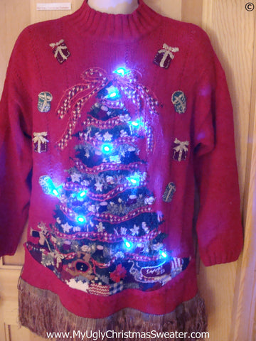 80s Tacky Christmas Sweater with Huge Tree, Fringe, with Lights
