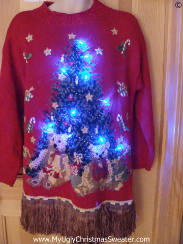 80s Tacky Christmas Sweater with Tree, Bears, Fringe, with Lights