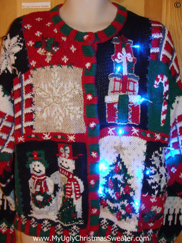 Two Sided Funny Light Up Christmas Sweater