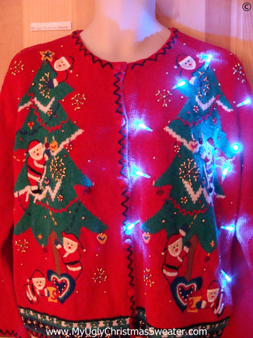 Christmas Sweater with Santa Family, Bling, with Lights