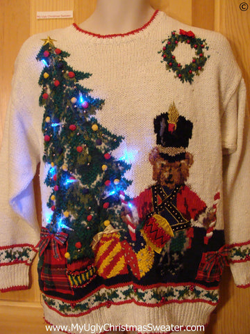 80s Horrible Christmas Sweater with Bear, Tree, with Lights